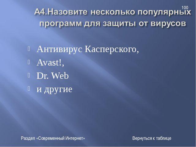 Антивирус Касперского, Avast!, Dr. Web и другие Раздел «Современный Интернет»...