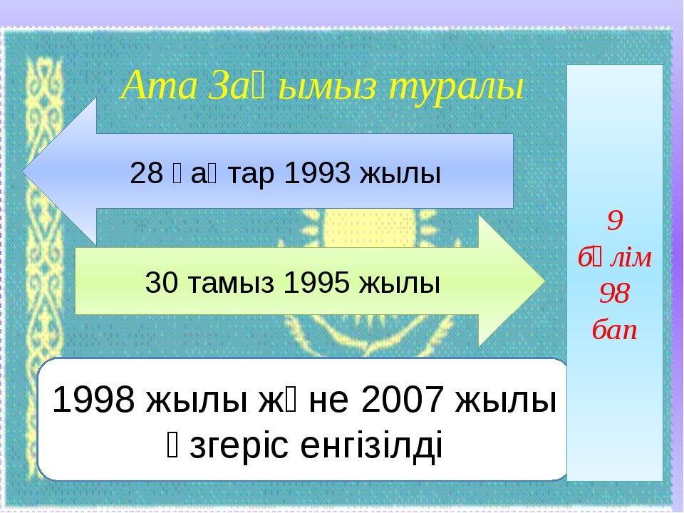 Ата Заңымыз туралы 28 қаңтар 1993 жылы 30 тамыз 1995 жылы 1998 жылы және 2007...