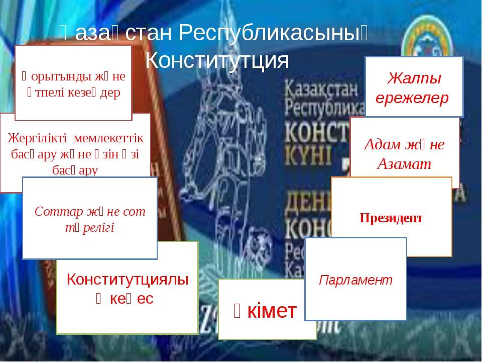 Қазақстан Республикасының Конститутция Үкімет Адам және Азамат Жалпы ережелер...