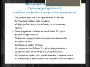 Международные соглашения, в которых раскрываются основные понятия и принципы
