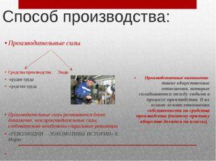 Способ производства: Производительные силы Средства производства: Люди -оруди