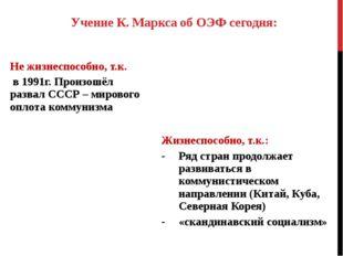 Учение К. Маркса об ОЭФ сегодня: Не жизнеспособно, т.к. в 1991г. Произошёл ра