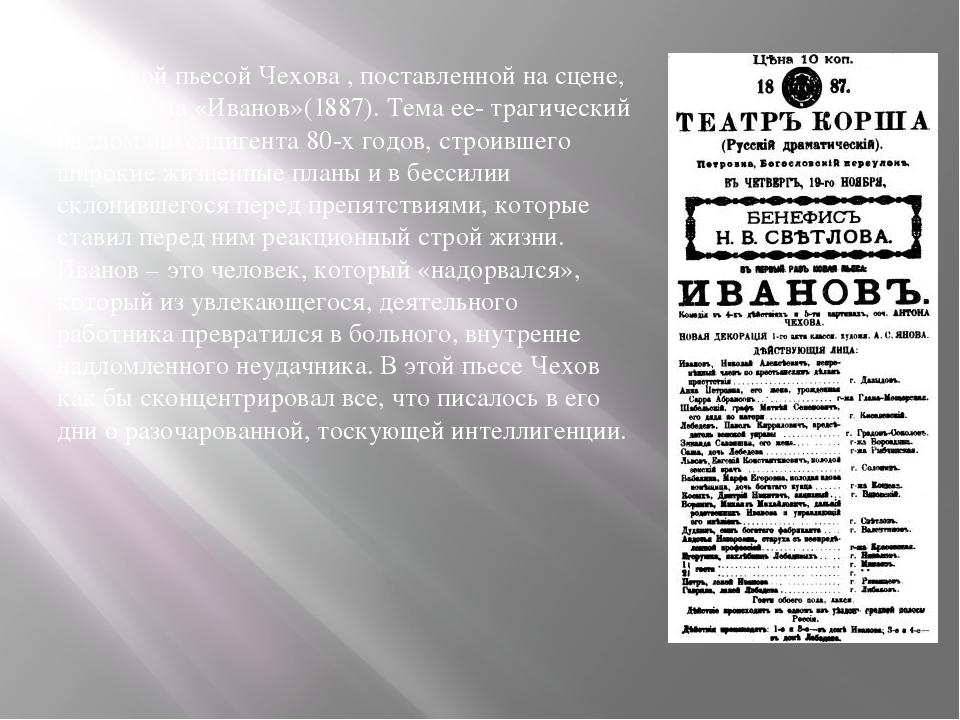 Первой пьесой Чехова , поставленной на сцене, была драма «Иванов»(1887). Тем...