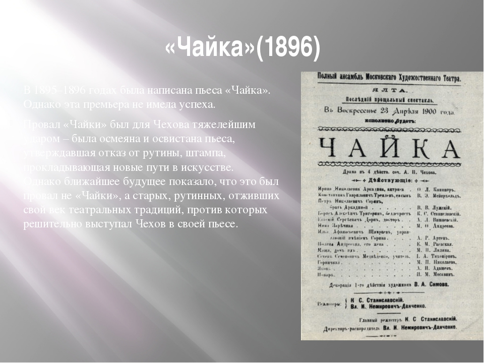 «Чайка»(1896) В 1895–1896 годах была написана пьеса «Чайка». Однако эта премь...