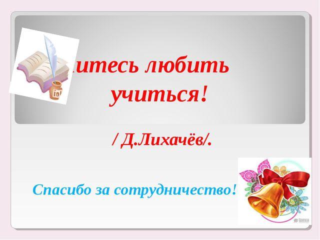 Учитесь любить учиться! / Д.Лихачёв/. Спасибо за сотрудничество!