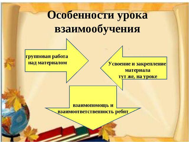 Особенности урока взаимообучения групповая работа над материалом Усвоение и з...