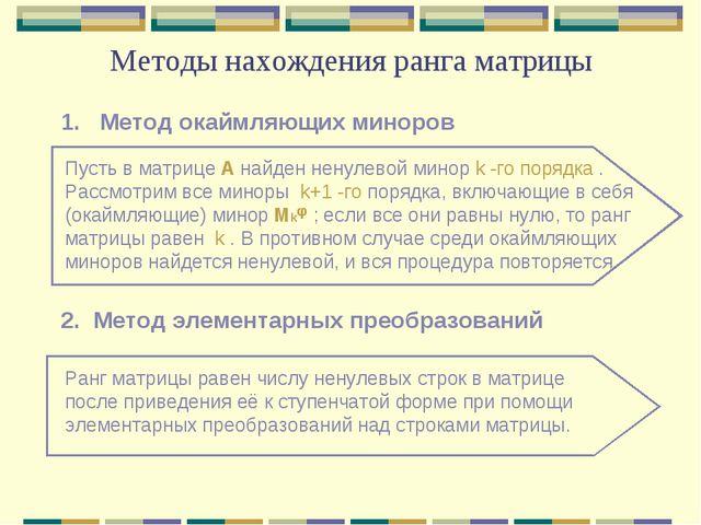 Методы нахождения ранга матрицы 1. Метод окаймляющих миноров 2. Метод элемент...