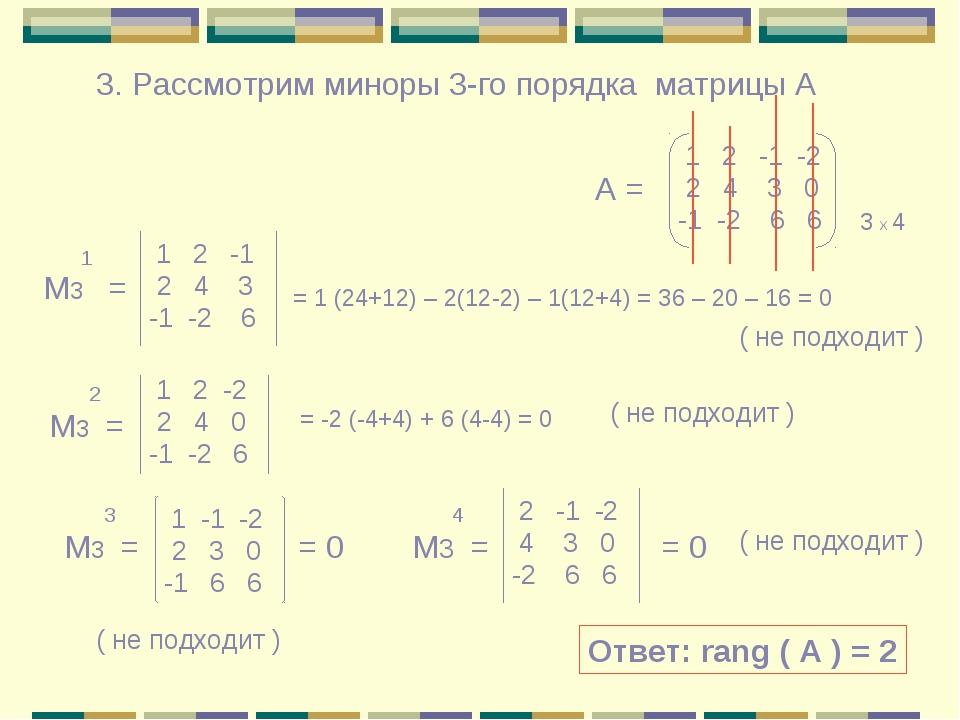 3. Рассмотрим миноры 3-го порядка матрицы А 1 2 -1 -2 2 4 3 0 -1 -2 6 6 3 х 4...