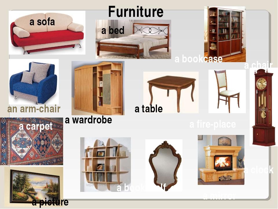 Furniture a sofa a bed a bookcase a chair a carpet a picture a clock a fire-p...