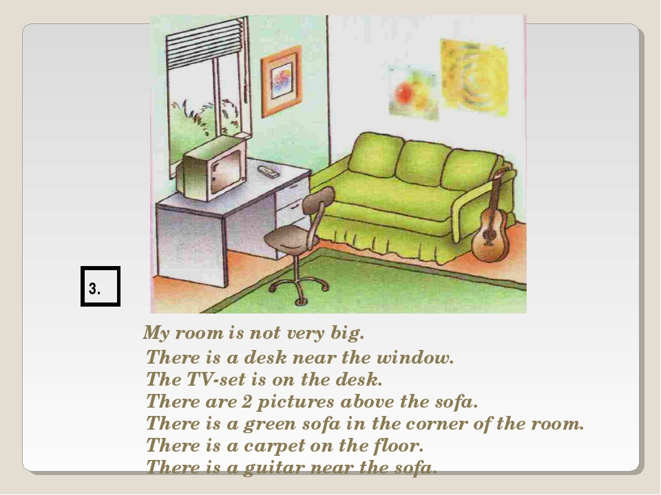 3. My room is not very big. There is a desk near the window. The TV-set is on...
