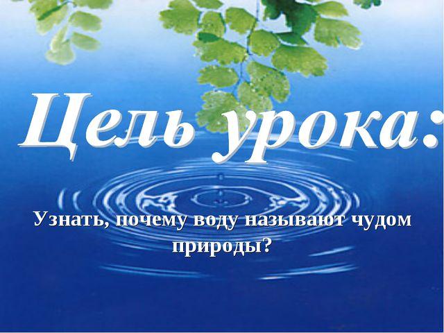 Узнать, почему воду называют чудом природы?