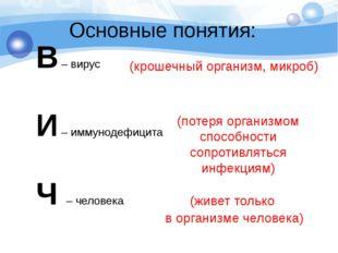 Основные понятия: В – вирус И – иммунодефицита Ч – человека (крошечный органи