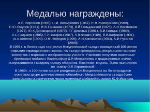 Медалью награждены: А.В. Кирсанов (1965), С.И. Вольфкович (1967), Н.М.Жаворон