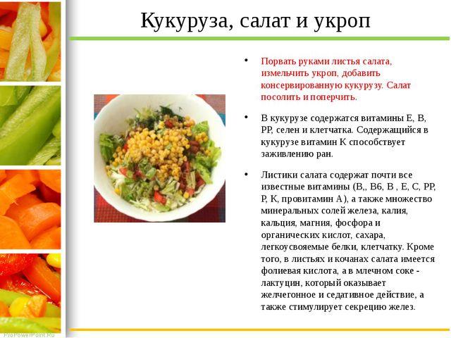 Кукуруза, салат и укроп Порвать руками листья салата, измельчить укроп, добав...