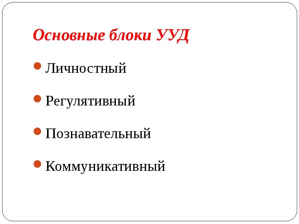 Основные блоки УУД Личностный Регулятивный Познавательный Коммуникативный