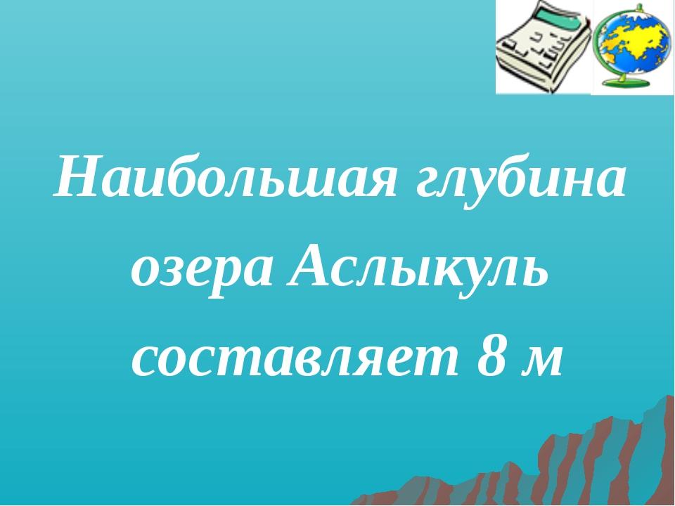 Наибольшая глубина озера Аслыкуль составляет 8 м