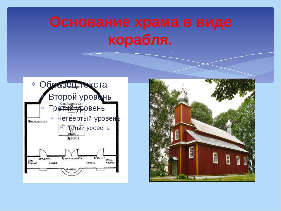 Основание храма в виде корабля.