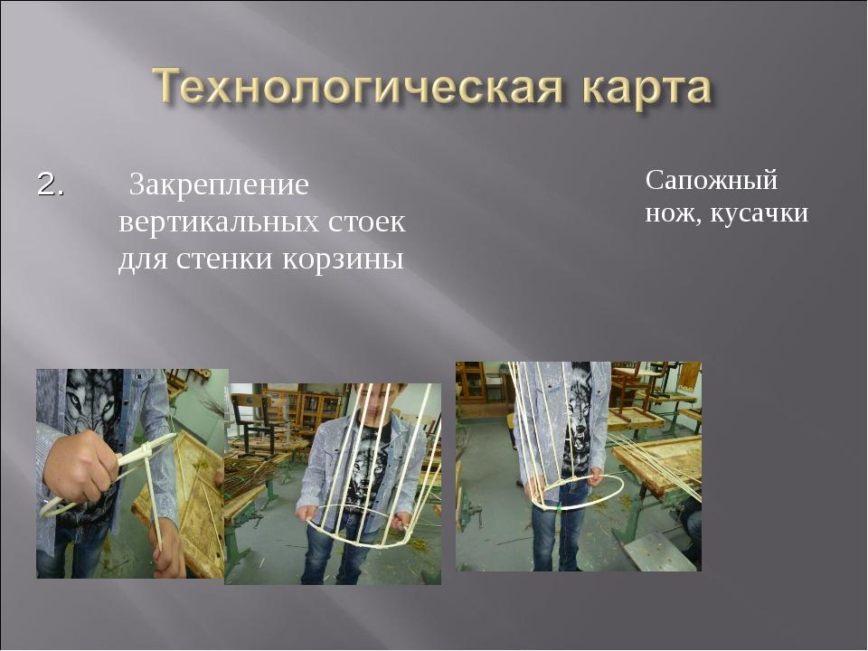 2. Закрепление вертикальных стоек для стенки корзины Сапожный нож, кусачки...