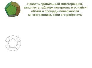Назвать правильный многогранник, заполнить таблицу, построить его, найти объ