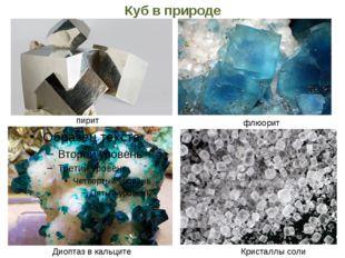 Куб в природе Кристаллы соли Диоптаз в кальците пирит флюорит