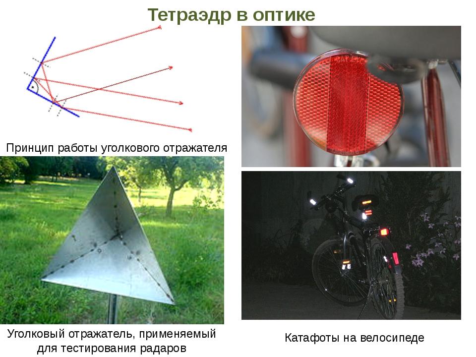 Тетраэдр в оптике Принцип работы уголкового отражателя Уголковый отражатель,...