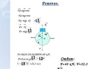 Решение. N mg Y О R aц N+mg=ma N= m(g- a), -N+mg=ma P=50(10-2)=40 000Н=40 кН