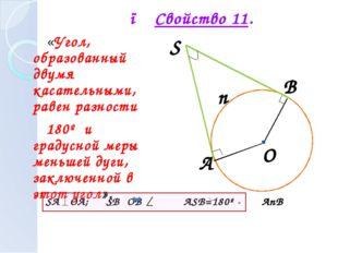 ● Свойство 11. «Угол, образованный двумя касательными, равен разности 180º и