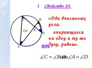 ● Свойство 25. «Два вписанных угла, опирающиеся на одну и ту же дугу, равны».