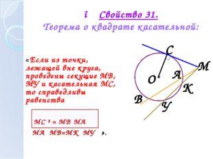 ● Свойство 31. Теорема о квадрате касательной: «Если из точки, лежащей вне кр