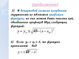 (продолжение) 3) В декартовой системе координат окружность не является график