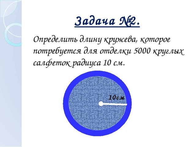 Определить длину кружева, которое потребуется для отделки 5000 круглых салфе...