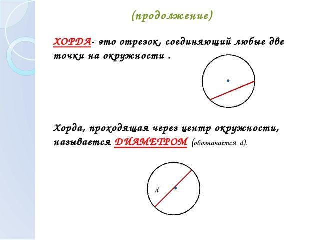 (продолжение) ХОРДА- это отрезок, соединяющий любые две точки на окружности ....