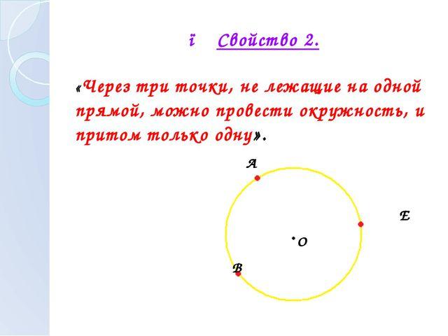 ● Свойство 2. «Через три точки, не лежащие на одной прямой, можно провести ок...
