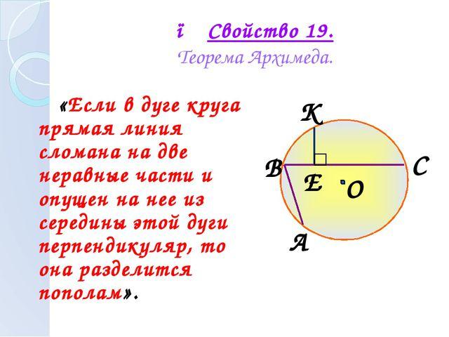 ● Свойство 19. Теорема Архимеда. «Если в дуге круга прямая линия сломана на д...