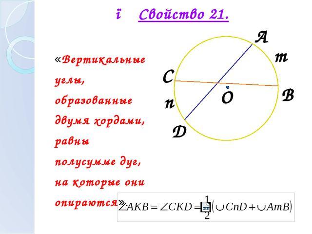 ● Свойство 21. «Вертикальные углы, образованные двумя хордами, равны полусумм...