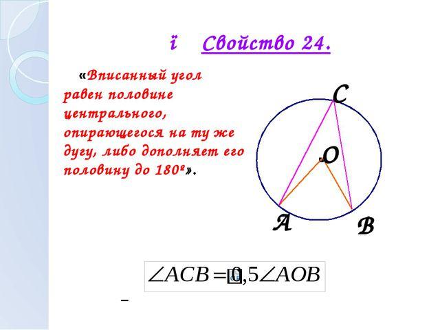 ● Свойство 24. «Вписанный угол равен половине центрального, опирающегося на т...