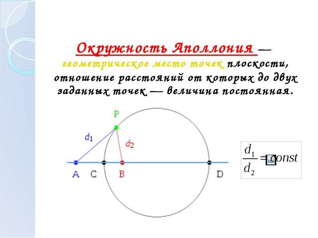 Окружность Аполлония — геометрическое место точек плоскости, отношение расст...