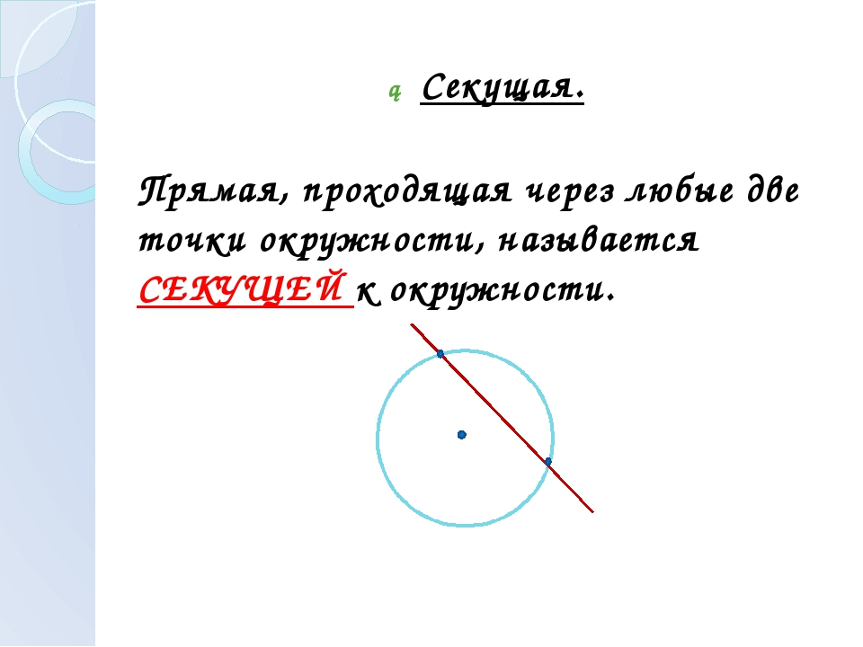 ► Секущая. Прямая, проходящая через любые две точки окружности, называется СЕ...
