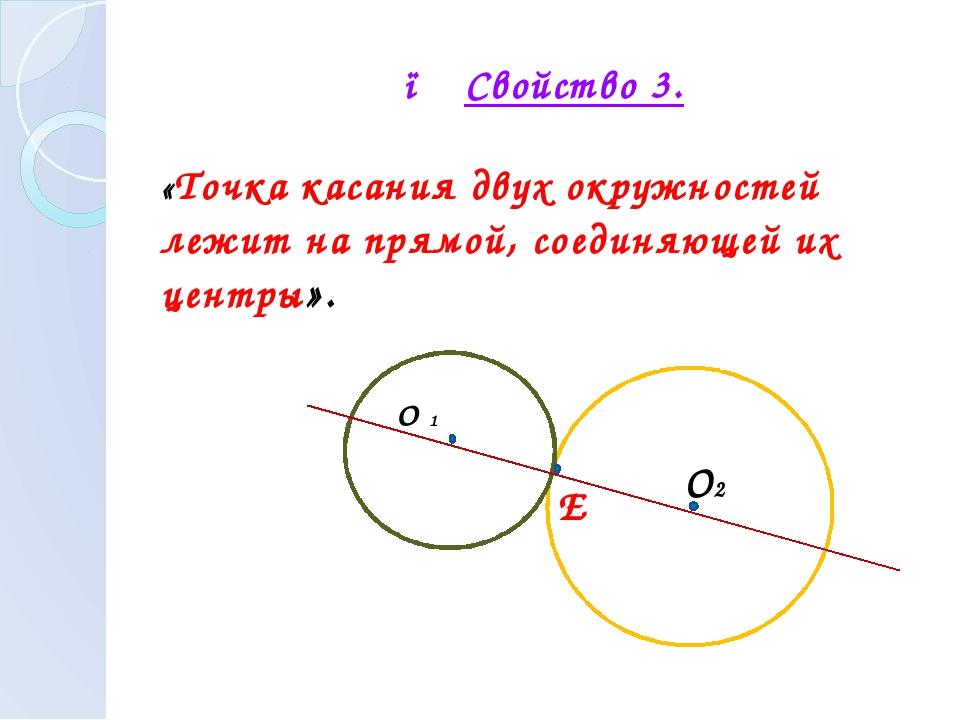● Свойство 3. «Точка касания двух окружностей лежит на прямой, соединяющей и...