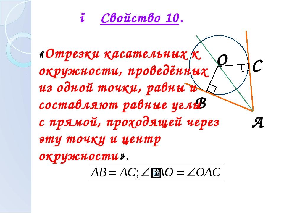 А В С О ● Свойство 10. «Отрезки касательных к окружности, проведённых из одн...
