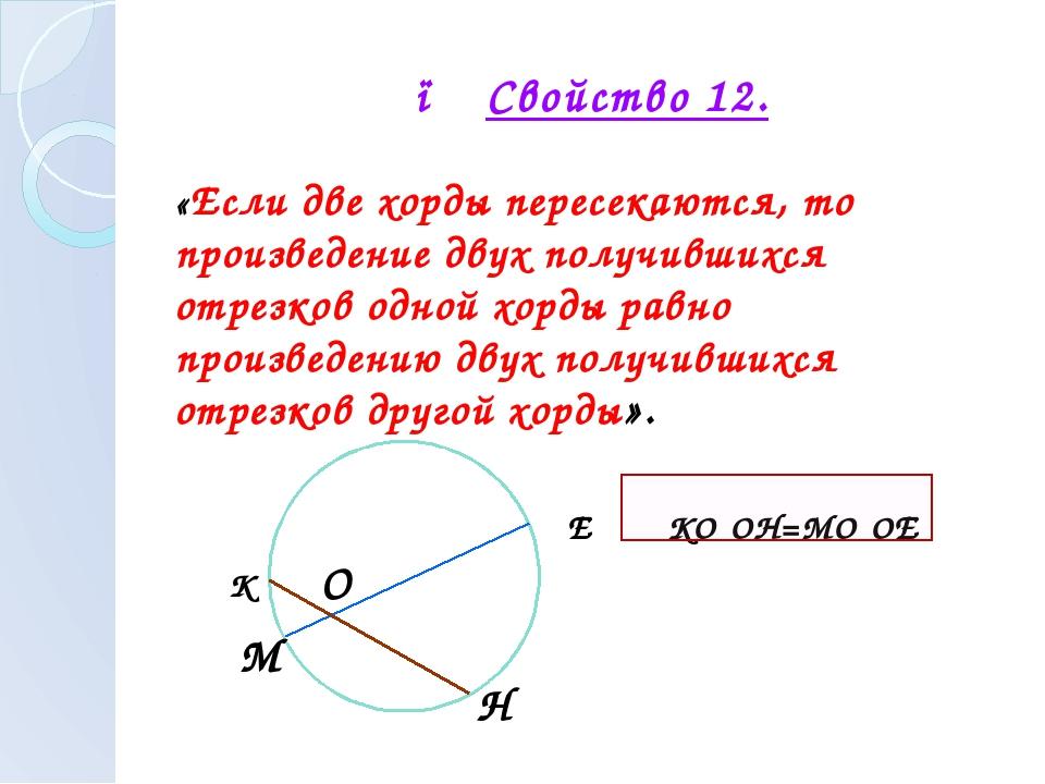 ● Свойство 12. «Если две хорды пересекаются, то произведение двух получившихс...