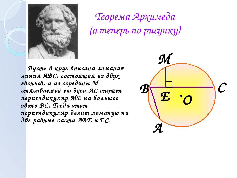 Теорема Архимеда (а теперь по рисунку) Пусть в круг вписана ломаная линия АВС...