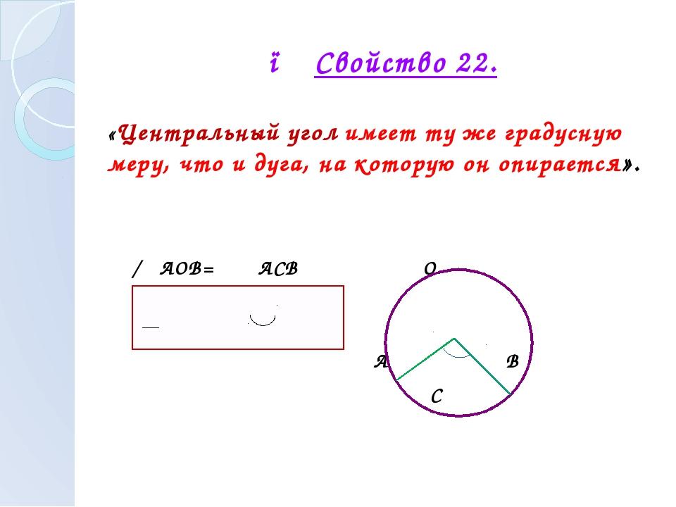 ● Свойство 22. «Центральный угол имеет ту же градусную меру, что и дуга, на к...