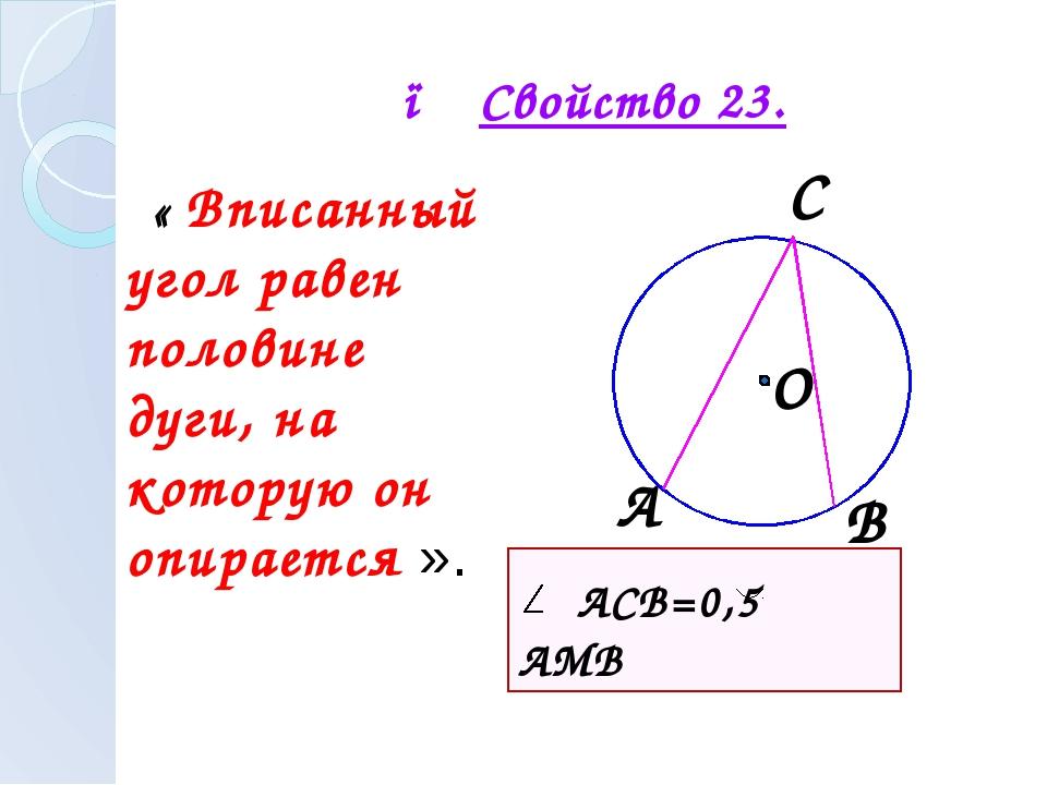 ● Свойство 23. « Вписанный угол равен половине дуги, на которую он опирается...