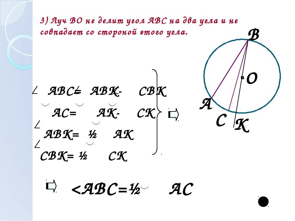 3) Луч ВО не делит угол АВС на два угла и не совпадает со стороной этого угла...