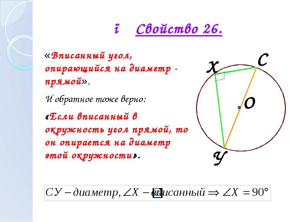 ● Свойство 26. «Вписанный угол, опирающийся на диаметр - прямой». И обратное...