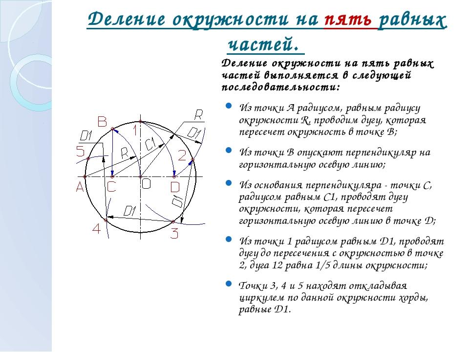 Деление окружности на пять равных частей. Деление окружности на пять равных ч...