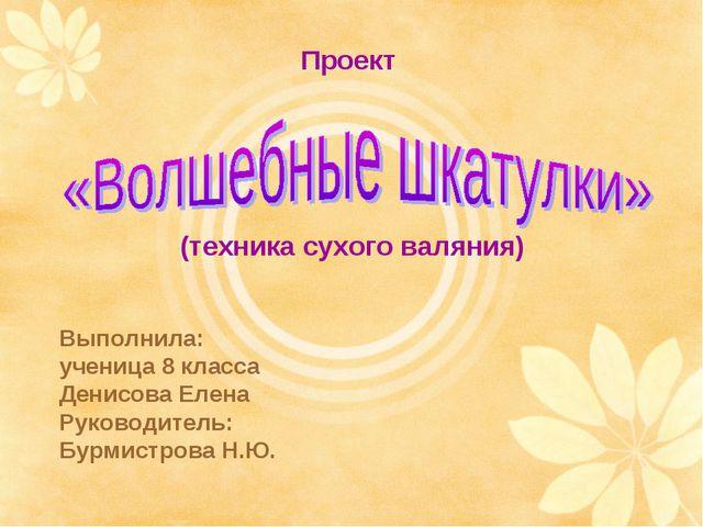 (техника сухого валяния) Проект Выполнила: ученица 8 класса Денисова Елена Ру...