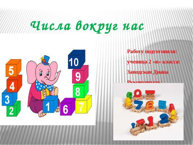 Числа вокруг нас Работу подготовили: ученица 2 «в» класса: Заводская Диана Ру...