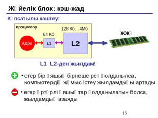 Жүйелік блок: кэш-жад егер бір ұяшық бірнеше рет қолданылса, компьютердің жұм
